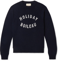 Holiday Boileau Slim-Fit Logo-Intarsia Merino Wool Sweater