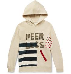 비즈빔 Visvim Printed Panelled Fleece-Back Cotton-Jersey Hoodie,Beige