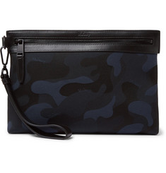 Mulberry Leather-Trimmed Camouflage Cotton-Jacquard Pouch