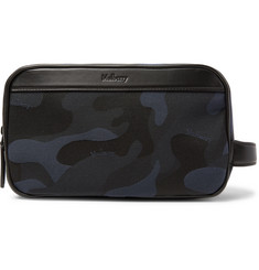 Leather-trimmed Camouflage-print Canvas Wash Bag - Navy