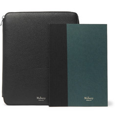 Mulberry Full-Grain Leather Zip-Around Pouch and Notebook