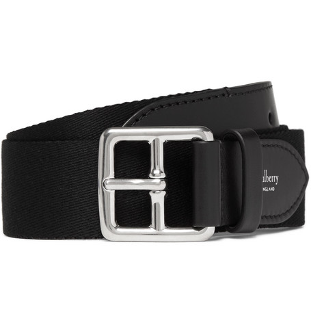 3cm Black Canvas And Leather Belt by Mulberry