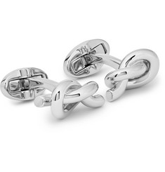 Engraved Knotted Silver-plated Cufflinks - Silver