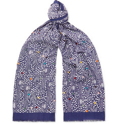 Paul Smith - Embroidered Printed Cotton-Voile Scarf 5f268bd83446