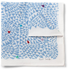 Paul Smith - Embroidered Printed Cotton-Voile Pocket Square