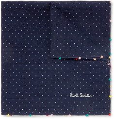 Paul Smith - Embroidered Pin-Dot Cotton and Silk-Blend Voile Pocket Square