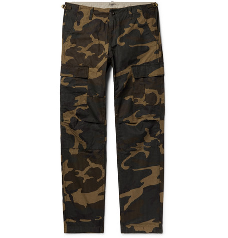 f9304d89cc Carhartt WIPAviation Slim-Fit Camouflage-Print Cotton-Ripstop Cargo Trousers