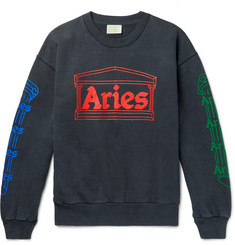 Aries Logo-Print Fleece-Back Cotton-Jersey Sweatshirt