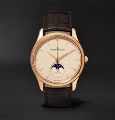 Jaeger-LeCoultre - Master Ultra Thin Moon 39mm 18-Karat Rose Gold and Alligator Watch