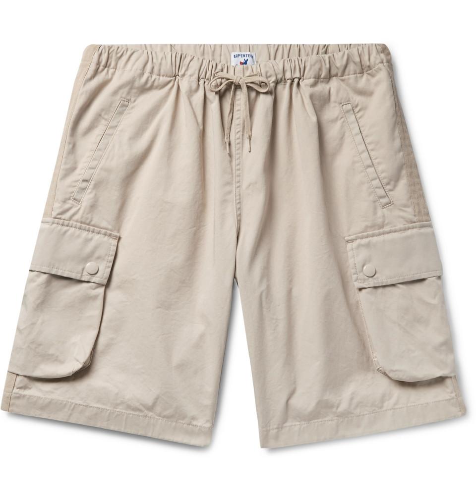 Marina Cotton-twill Drawstring Cargo Shorts - Beige