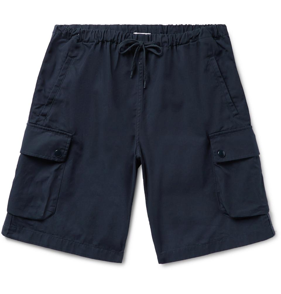 Marina Cotton-twill Drawstring Cargo Shorts - Midnight blue