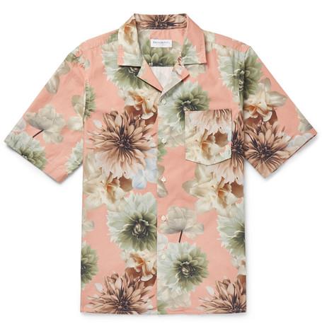 President's T-shirts CAMP-COLLAR FLORAL-PRINT COTTON SHIRT - PINK
