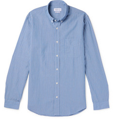 President's Button-Down Collar Striped Cotton and Linen-Blend Shirt