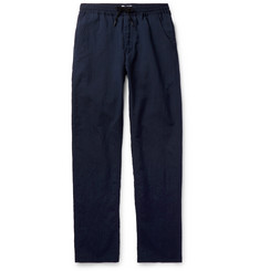President's - Navy Virgin Wool and Linen-Blend Drawstring Trousers