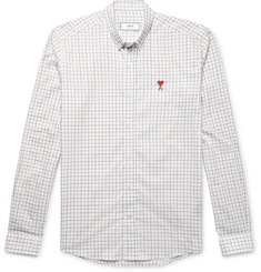 AMI Button-Down Collar Checked Cotton-Poplin Shirt