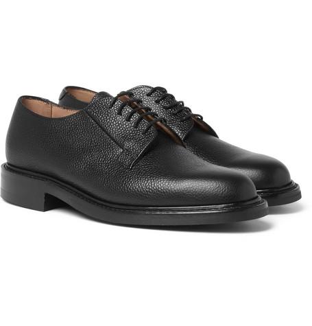 Deal Pebble-grain Leather Derby Shoes - Black