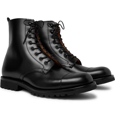 Trafalgar Cap-toe Leather Derby Boots - Black