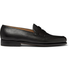 Lopez Full-grain Leather Penny Loafers - Black