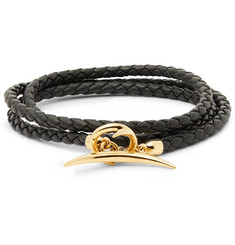 Shaun Leane - Quill Woven Leather and Gold-Plated Wrap Bracelet