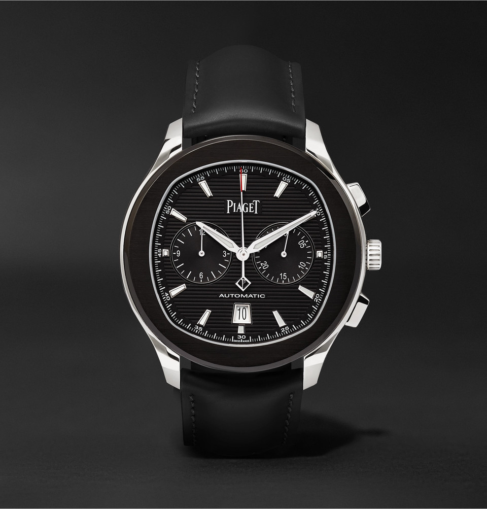 Limited Edition Polo S Automatic Chronograph 42mm Adlc-coated Stainless Steel And Leather Watch - Black