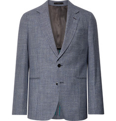 Paul Smith - Navy Soho Slim-Fit Puppytooth Wool, Silk and Linen-Blend Suit Jacket