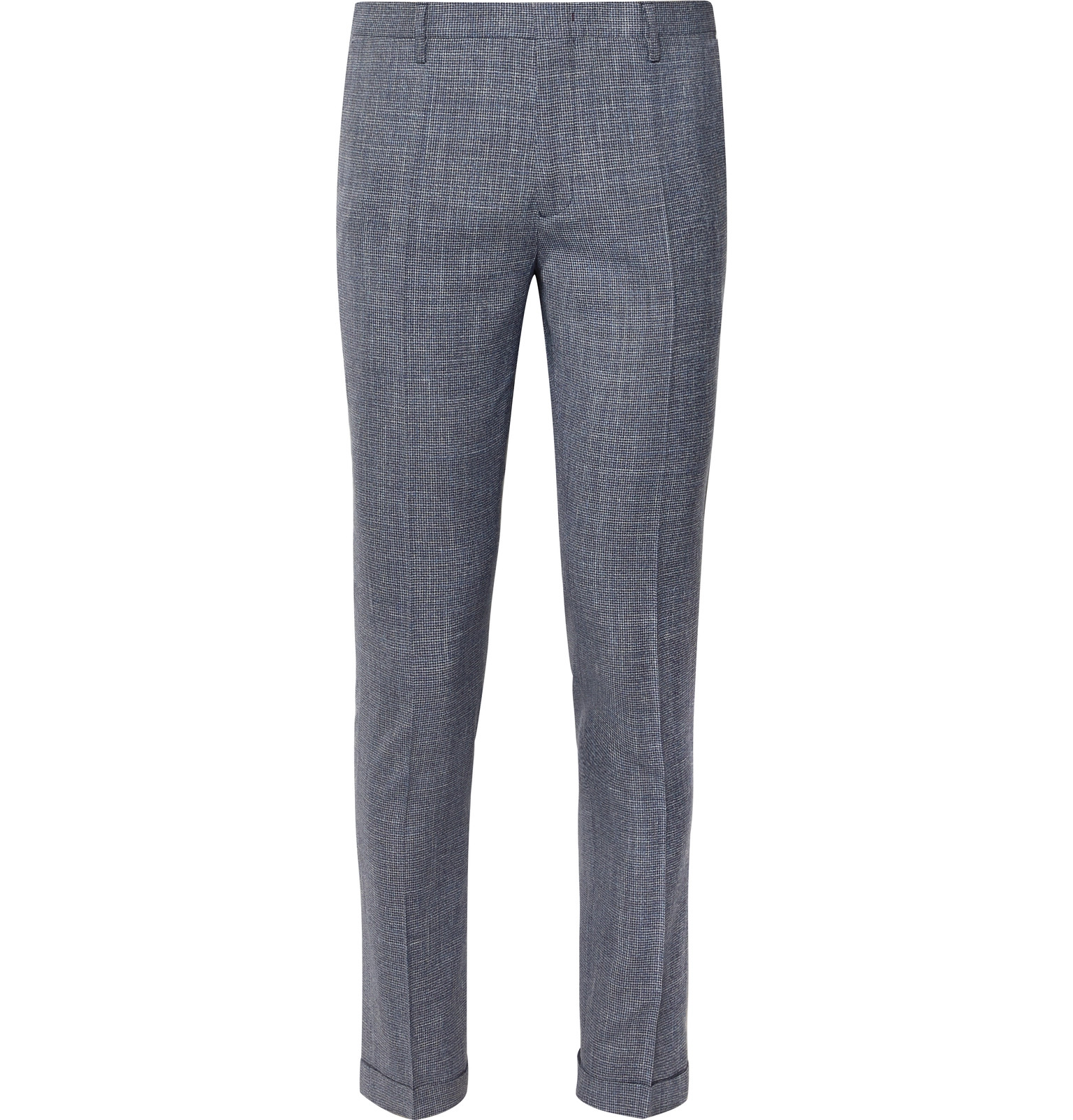 17fc619a Paul SmithNavy Soho Slim-Fit Tapered Puppytooth Wool, Silk and Linen-Blend Suit  Trousers