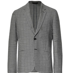 Paul Smith Black Soho Slim-Fit Prince of Wales Checked Stretch-Cotton Seersucker Suit Jacket