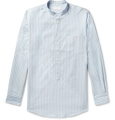 Richard James Grandad-Collar Striped Cotton and Linen-Blend Half-Placket Shirt