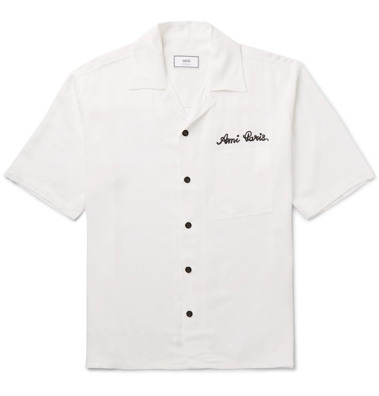 Ami Camp Collar Logo Embroidered Woven Shirt