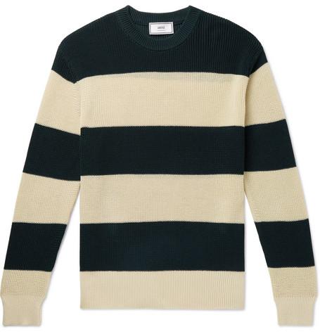 AMI – Striped Cotton Sweater – Green