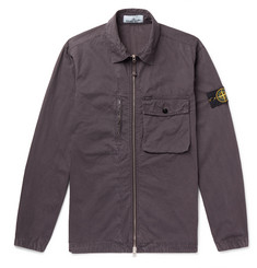 Stone Island Logo-Appliquéd Garment-Dyed Cotton Overshirt