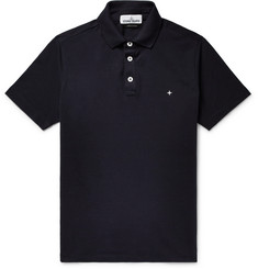 Stone Island Logo-Embroidered Stretch-Cotton Piqué Polo Shirt