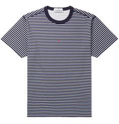 Stone Island Logo-Print Striped Cotton-Jersey T-Shirt
