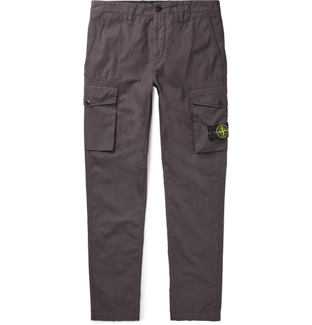 Slim Fit Tapered Cotton Ripstop Cargo Trousers by Stone Island