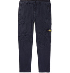 Stone Island Navy Slim-Fit Tapered Cotton Cargo Trousers
