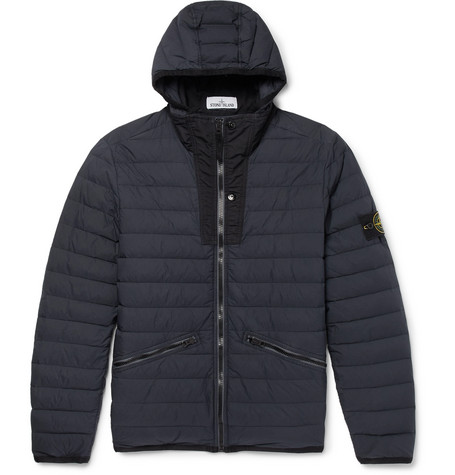 Garment Dyed Quilted Shell Hooded Down Jacket by Stone Island