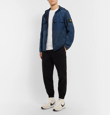 Logo Appliquéd Shell Panelled Ripstop Hooded Jacket by Stone Island