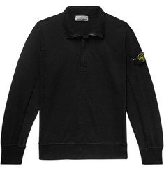 Stone Island Logo-Appliquéd Loopback Stretch-Cotton Jersey Half-Zip Sweatshirt