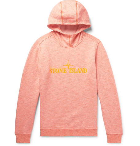Logo Embroidered Mélange Loopback Cotton Jersey Hoodie by Stone Island