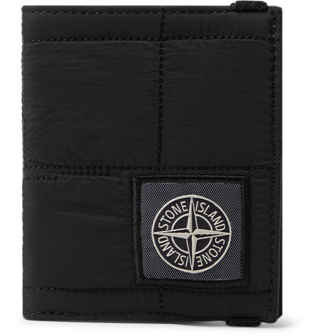 Logo Appliquéd Quilted Shell Billfold Wallet by Stone Island