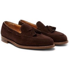 Edward Green - Hampstead Leather-Trimmed Suede Tasselled Loafers