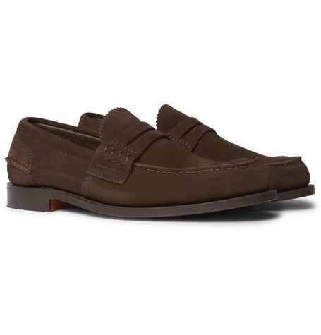 Pembrey Suede Penny Loafers - Dark brown