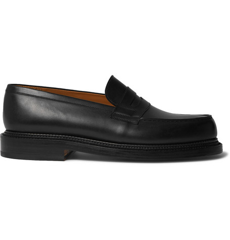 4d5a71a51b3 J.M. Weston 180 The Moccasin Leather Loafers - Black