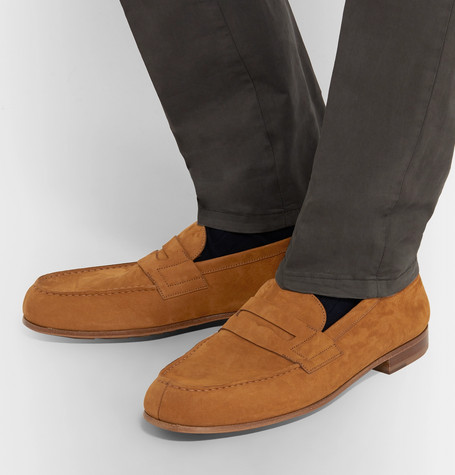 J.m. Weston 281 Le Moc Suede Loafers In Brown