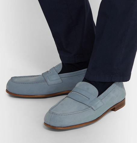 J.m. Weston 281 Le Moc Suede Loafers In Blue