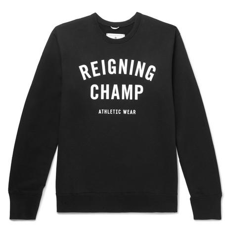 REIGNING CHAMP Slim-Fit Logo-Print Loopback Cotton-Jersey Sweatshirt in Black
