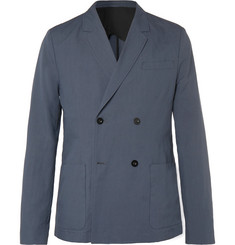 Mr P. - Dark-Blue Unstructured Double-Breasted Linen and Cotton-Blend Suit Jacket