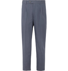 Mr P. Dark-Blue Cropped Tapered Pleated Linen and Cotton-Blend Suit Trousers