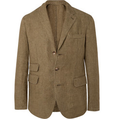 MAN 1924 Army-Green Kennedy Unstructured Linen Suit Jacket