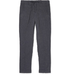 MAN 1924 Navy Tomi Slim-Fit Tapered Pinstriped Linen Drawstring Trousers